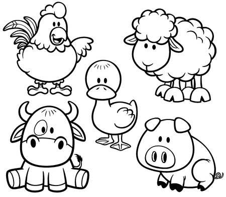 Illustration pour Vector Illustration of Cartoon Animals farm set - Coloring book - image libre de droit