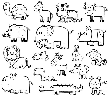 Photo for Vector Illustration of Cartoon Wild Animals set - Coloring book - Royalty Free Image