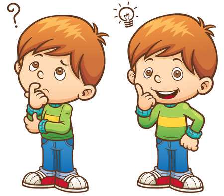 Illustration pour illustration of Cartoon Boy thinking - image libre de droit