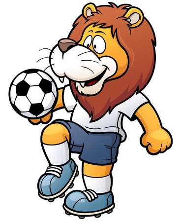 Foto per illustration of Cartoon Soccer player - Lion - Immagine Royalty Free