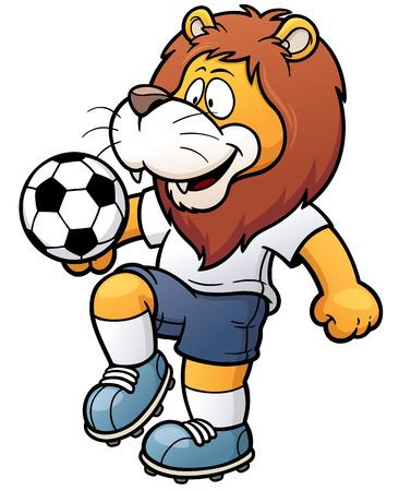 Photo pour illustration of Cartoon Soccer player - Lion - image libre de droit