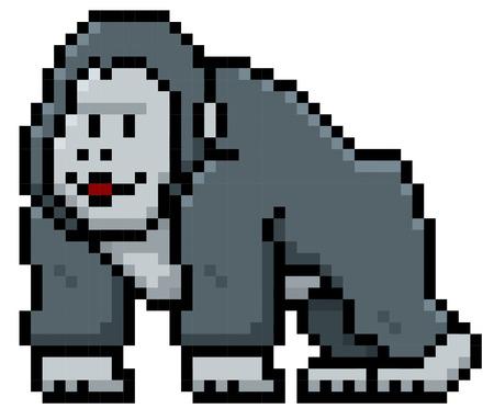 Illustration for Vector illustration of Gorilla Cartoon - Pixel style - Royalty Free Image