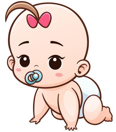 Illustration pour Vector Illustration of Cartoon Baby learn to crawl - image libre de droit