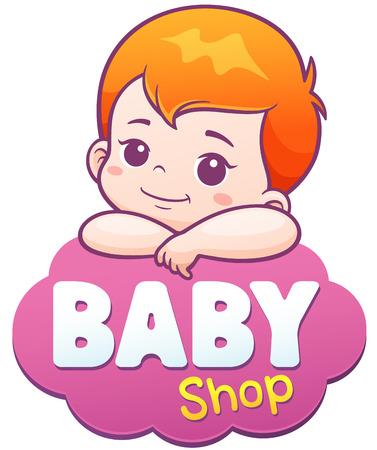Ilustración de Vector Illustration of Cartoon Cute Baby. Baby shop logo concept - Imagen libre de derechos