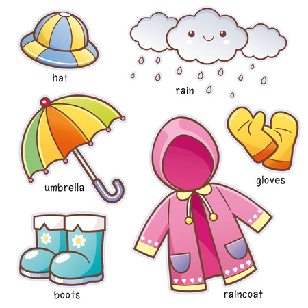 Illustration for Vector illustration of Cartoon Rain Clothes vocabulary - Royalty Free Image