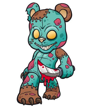 Illustration pour Cartoon Evil teddy bear - image libre de droit