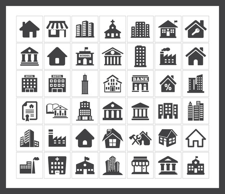 Illustration pour Building icons - image libre de droit