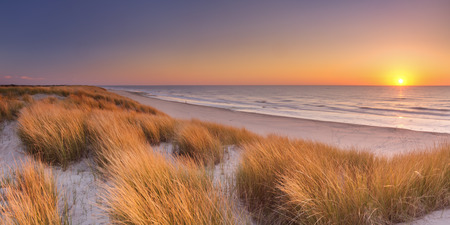 Foto de Tall dunes with dune grass and a wide beach below. Photographed at sunset on the island of Texel in The Netherlands. - Imagen libre de derechos