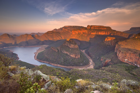 Photo for View over the Blyde River Canyon and the Three Rondavels in South Africa at sunset. - Royalty Free Image