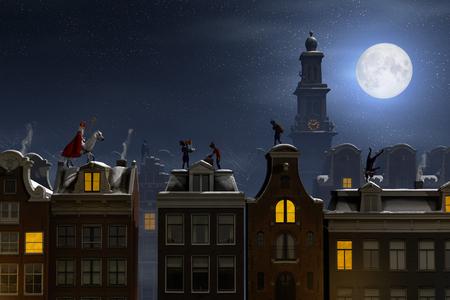 Foto de Sinterklaas and the Pieten on the rooftops at night, a scene for the traditional Dutch holiday 'Sinterklaas', 3d render. - Imagen libre de derechos