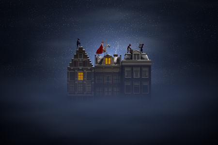 Photo for Sinterklaas and the Pieten on the rooftops at night, a scene for the traditional Dutch holiday 'Sinterklaas', 3d render. - Royalty Free Image