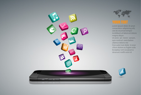 Illustration pour Touchscreen Smartphone with Application Icons. - image libre de droit