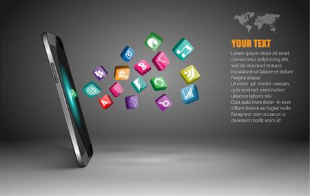 Ilustración de Touchscreen Smartphone with Application Icons. - Imagen libre de derechos