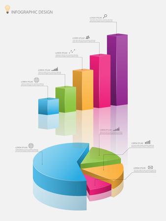 Ilustración de 3d pie chart graph,3d graph.Vector illustration - Imagen libre de derechos