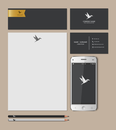 Illustration for Templates:blank, business cards, smart phone, brand-book,pencil, Vector illustration. - Royalty Free Image