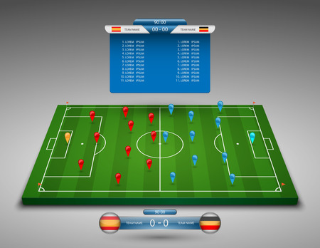Illustration pour vector soccer field with scoreboard,vector - image libre de droit
