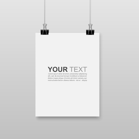 Illustration for Empty white A4 sized paper hanging with paper clips.vector - Royalty Free Image