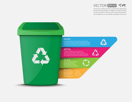 Ilustración de Recycle bins infographic.vector - Imagen libre de derechos