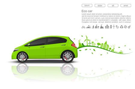 Ilustración de ECO car concept.vector - Imagen libre de derechos