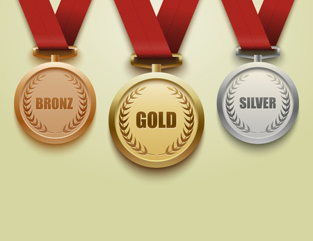 Illustration for Set of gold, silver and bronze medals - Royalty Free Image