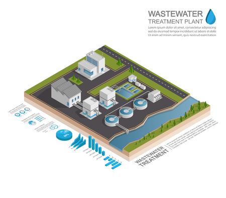 Ilustración de Isometric wastewater treatment plant infographic concept, vector - Imagen libre de derechos
