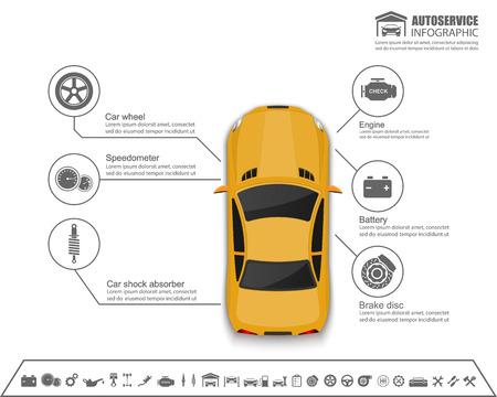 Illustration pour Car auto service infographics design.vector - image libre de droit