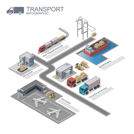 Photo pour 3d isometric Transportation Infographic, vector - image libre de droit