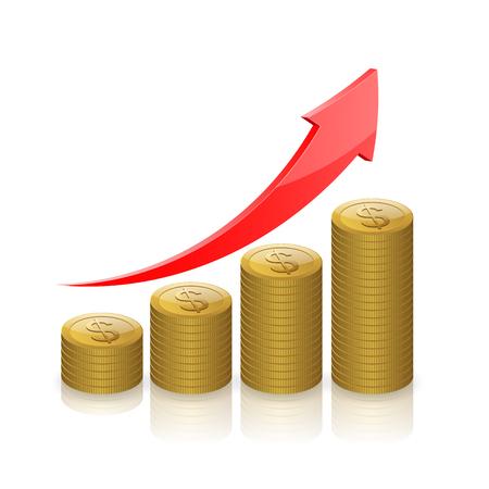Ilustración de Gold coins money,Business graph icon, Business success concept.  - Imagen libre de derechos