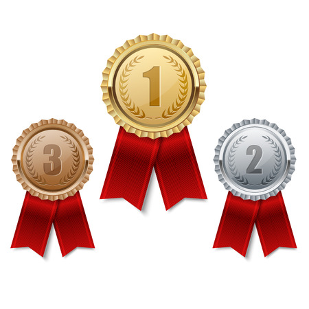 Illustration for Set of gold, silver and bronze medals. - Royalty Free Image