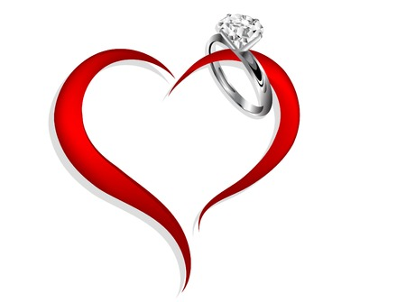 Abstract red heart with diamond ring