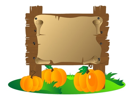 Wooden signboard with the pumpkins