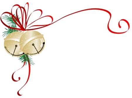Illustration pour Two golden jingle bells with red ribbon - image libre de droit