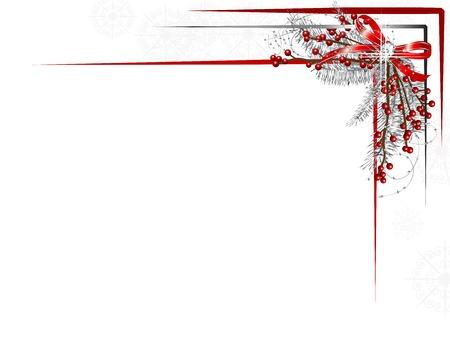 Ilustración de Silver Christmas garland with ribbon and red berries - Imagen libre de derechos