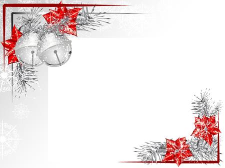 Ilustración de Blank label with two silver jingle bells - Imagen libre de derechos