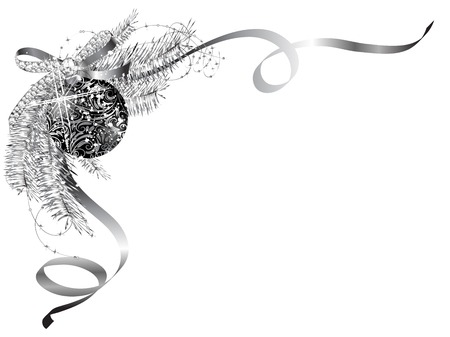Illustration for Blank label with silver bow and black ball - Royalty Free Image