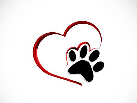 Ilustración de Black cat´s paw in abstract red heart - Imagen libre de derechos