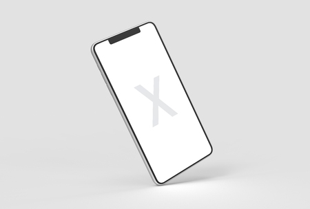 Foto de Smart Phone mock up isolated on soft gray background with silver case. 3D illustrating - Imagen libre de derechos