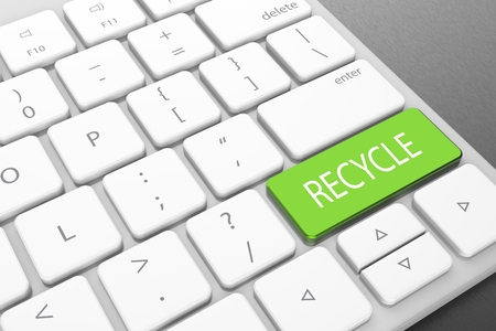 Photo for Modern computer keyboard with green recycle button. 3D illustrating - Royalty Free Image