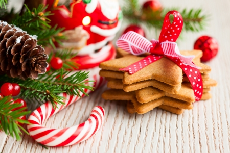 Photo for Christmas cookies with festive decoration - Royalty Free Image