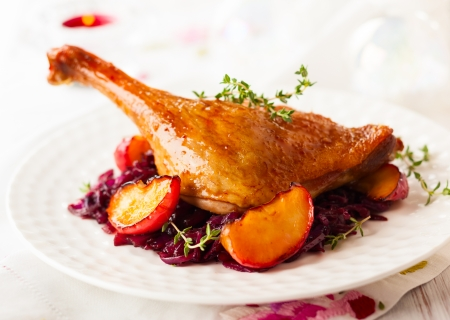 Photo for Roasted duck leg with red cabbage and apples for Christmas - Royalty Free Image