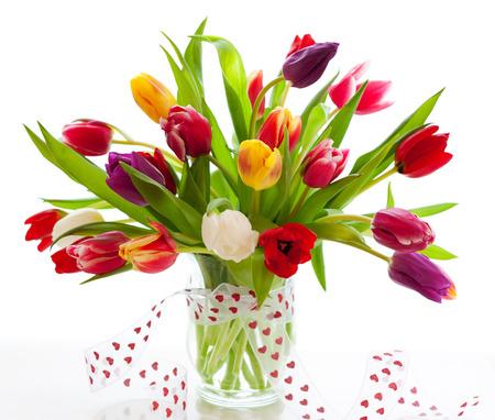 Photo pour colorful tulips on the white background - image libre de droit