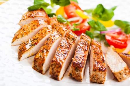 Photo for Grilled Turkey Breast with salad - Royalty Free Image