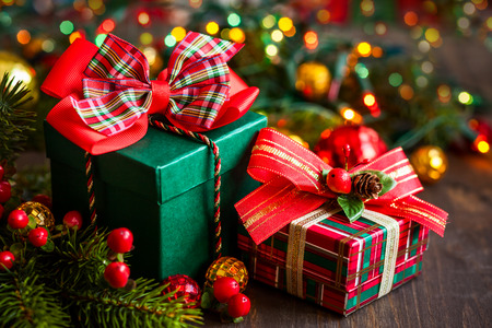 Photo for Christmas gift boxes with decorations - Royalty Free Image