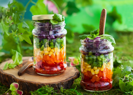 Photo pour Vegetarian Rainbow salad in a glass jar for summer picnic - image libre de droit