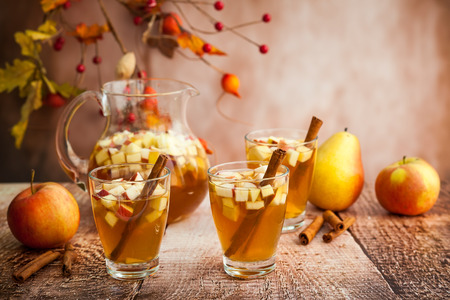 Photo for Autumn  sangria with apples,pears and cinnamon - Royalty Free Image