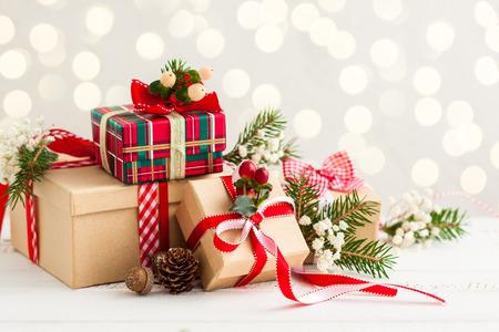 Photo pour Different Christmas presents with handmade decoration - image libre de droit