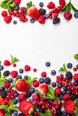 Photo for Various fresh summer berries. Top view - Royalty Free Image