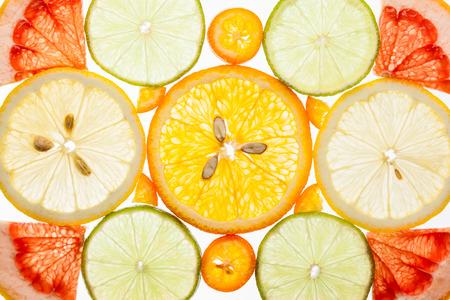 Photo pour Background of various citrus fruits  on the white - image libre de droit