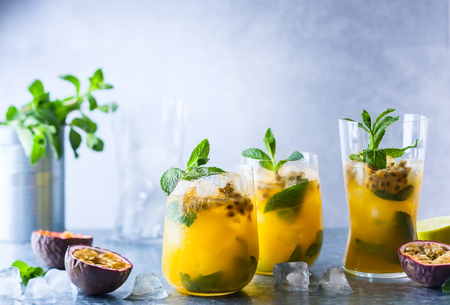 Photo for Passion fruit lemonade garnished with lime and mint - Royalty Free Image
