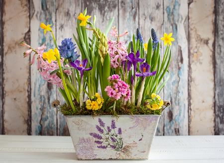 Foto de Fresh beautiful spring flowers in vintage pot on the wooden table. Easter decoration for home. - Imagen libre de derechos